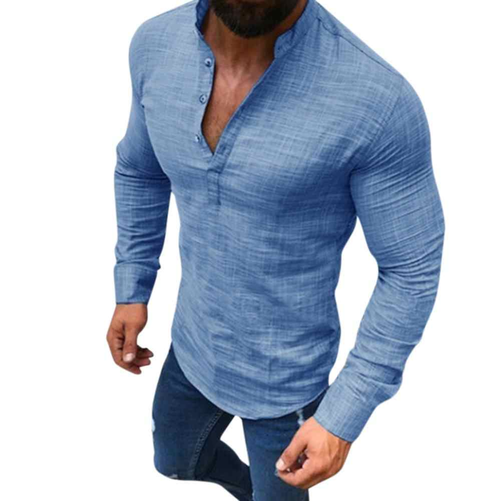 MISSKY New Men Polo Shirt Casual Long Sleeve V Neck Solid Color Slim Fit Linen Summer Autumn Polo Shirt Male Clothes 2019