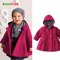 Bebek Kız Sıcak Ceket Kapüşonlu Ceket Kış Giysileri Çocuk Katı Dış Giyim Çocuk Moda Pembe Jakarlı Palto