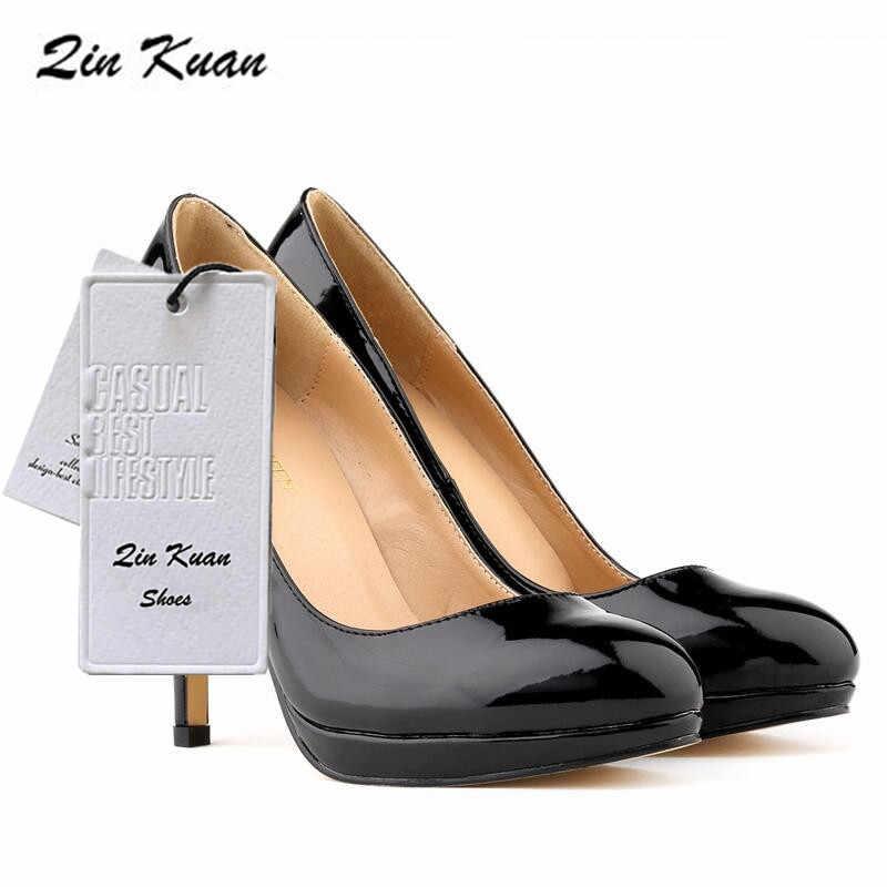Женские модные пикантные вечерние туфли из лакированной кожи с острым носком на высоком каблуке новинка большие размеры женские однотонные офисные туфли-лодочки QKP0266B