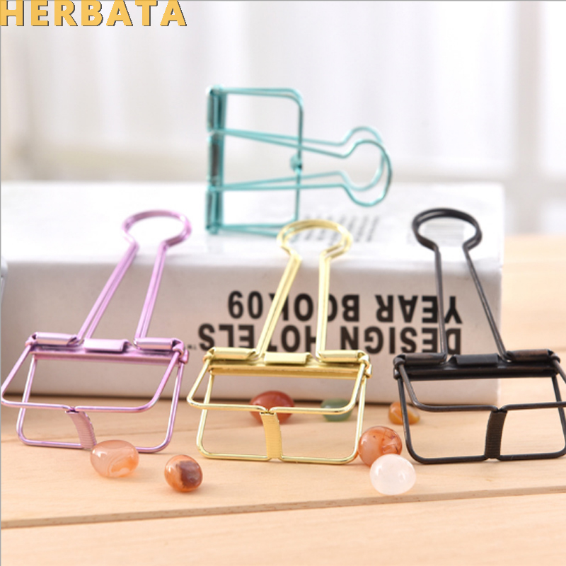 50mm Big Size Novelty Solid Color Hollow Out Metal Binder Clips Notes Letter Paper Clip Office Supplies CL-2604