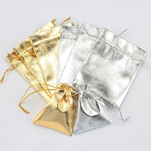 10pcs Golden Silver color 7*9 9*12cm gift bag jewelry packing drawable bag for Christmas wedding gift packing,Jewelry Packaging