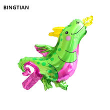 BINGTIAN Mini Small fire dragon Animal Foil Balloons Birthday Party Decorations Kids Toys Baby Shower Party Dinosaur balloon(China)