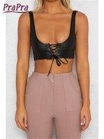 Prapra PU Women Tank Top Front Lace Up Small Vest Vintage Back Zip Camis Top Strap