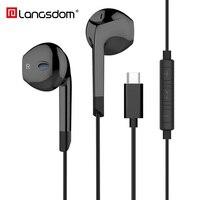 Langsdom Тип C наушники для Auriculares Xiaomi вкладыши с микрофоном kulakl k Hifi бас гарнитура samsung USB C Телефон