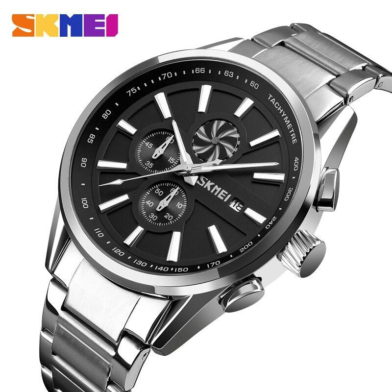 SKMEI Для Мужчин's Элитный бренд хронограф Для мужчин s спортивные часы Водонепроницаемый Нержавеющаясталь кварцевые часы Relogio Masculino 9175