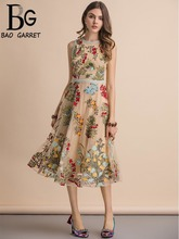 Baogarret New 2019 Summer  Sleeveless Dress Women's  Flower Embroidery Mesh Overlay Temperament Slim Elegant Midi Dresses flower overlay headband