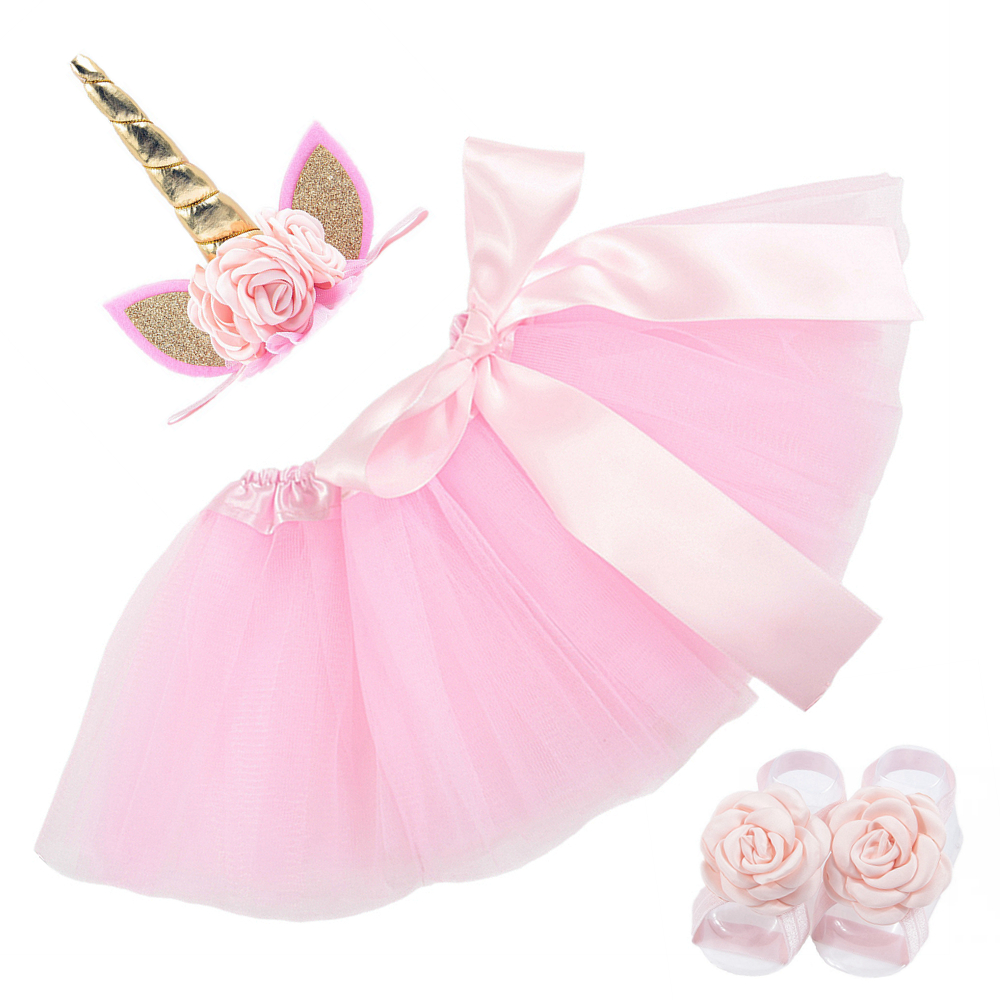 New 0~2 Years Newborn Unicorn Horn Headbands Silk Bow Tutu Dress With Sandals Sets Kids Photo Shoot Children Birthday Gift