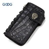 Бумажник ручной работы для мужчин и женщин длинный отрезок Нил крокодиловой кожи индивидуальный ткачество большой емкости кошелек пряжка