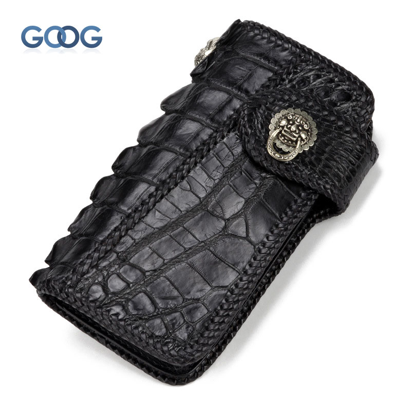 Handmade wallet men and women long section Nile crocodile skin personalized weaving large capacity wallet buckle leather retro H