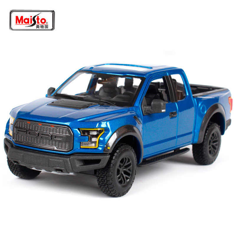 High Simulation Maisto 1 24 2017 Ford F 150 Raptor Pickup Truck Diecast Car Model Metal Car Toy For Kids Birthday Gifts Toy