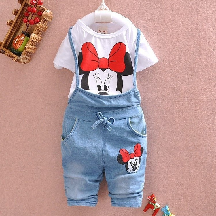 2016 Brand Baby clothes Girls Minnie Mouse suit Summer cotton Kids 2-pcs sets T Shirt+Jeans Overalls Girl Children Clothing Set brand fashion kids summer slim top mickey kid t shirt minnie mouse boys clothes shirts cotton short sleeve tee shirt