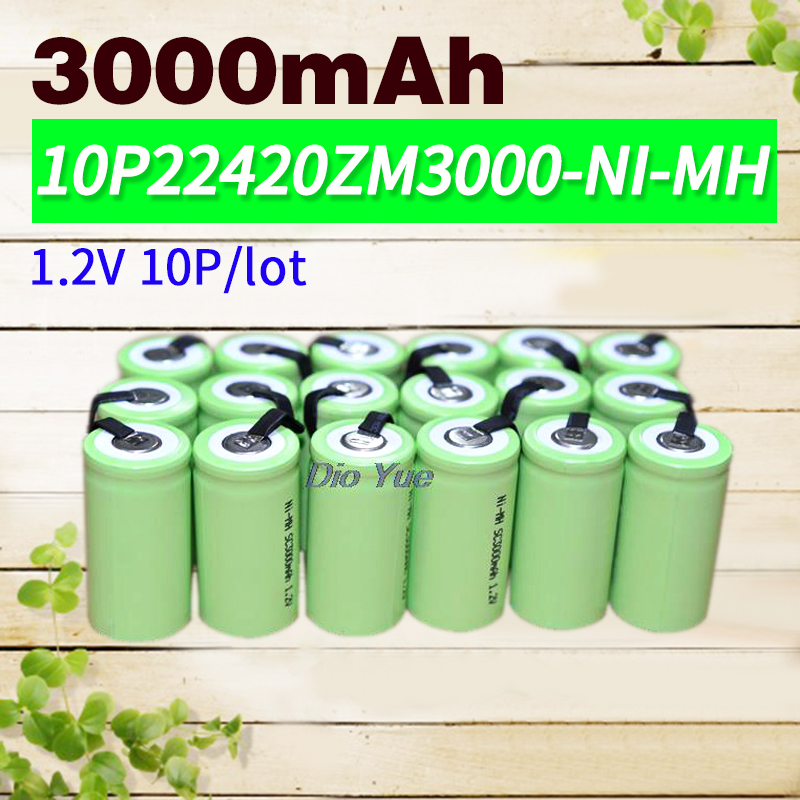 Apexway 10 Pcs/Lot 3000 mAh 1.2 V Sous C SC Ni-MH NiMH batterie rechargeable Batteries