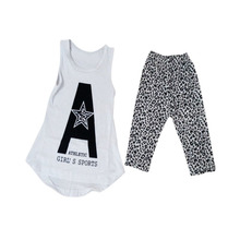 Summer 2PCS Toddler Kids Girls Sleeveless Vest Soft T-shirt Tops Leopard Pants Outfits Clothes 2-7Y