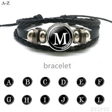 Men Women Bangle 26 Letters Bracelet PersonalityTeam Name Rope Black Leather  Friendship