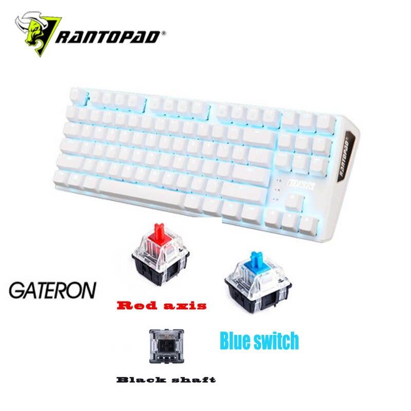 Rantopad MXX weiß luxus 87-key USB wired backlit mechanische gaming tastatur ABS zwei-farbe kunststoff keycap N schlüssel flip