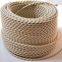 2*0,75 мм винтажный витой Электрический провод бежевый текстильный кабель Эдисона винтажный шнур лампы Плетеный Ретро подвесной светильник лампа провод 10 м