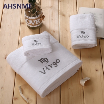 AHSNME super soft and thick Virgo Astor Lea LOGO 100% cotton towel 70x140cm and towels 35x75cm and handkerchief 35x35cm 3pcs image