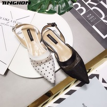 TINGHON Spring Summer Shoes Women Black White Mesh Stitching Dot Flat Sandals Female Pointed Toe Casual Shoes цена