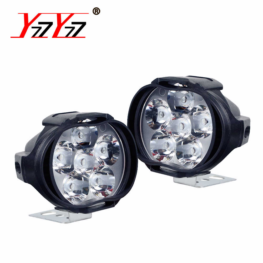 2x Motorcycle Headlight 6LED 12W DC 12V Super Bright Fog Spot White Work Light Internal Drive For Motorcycles Electric Bicycles