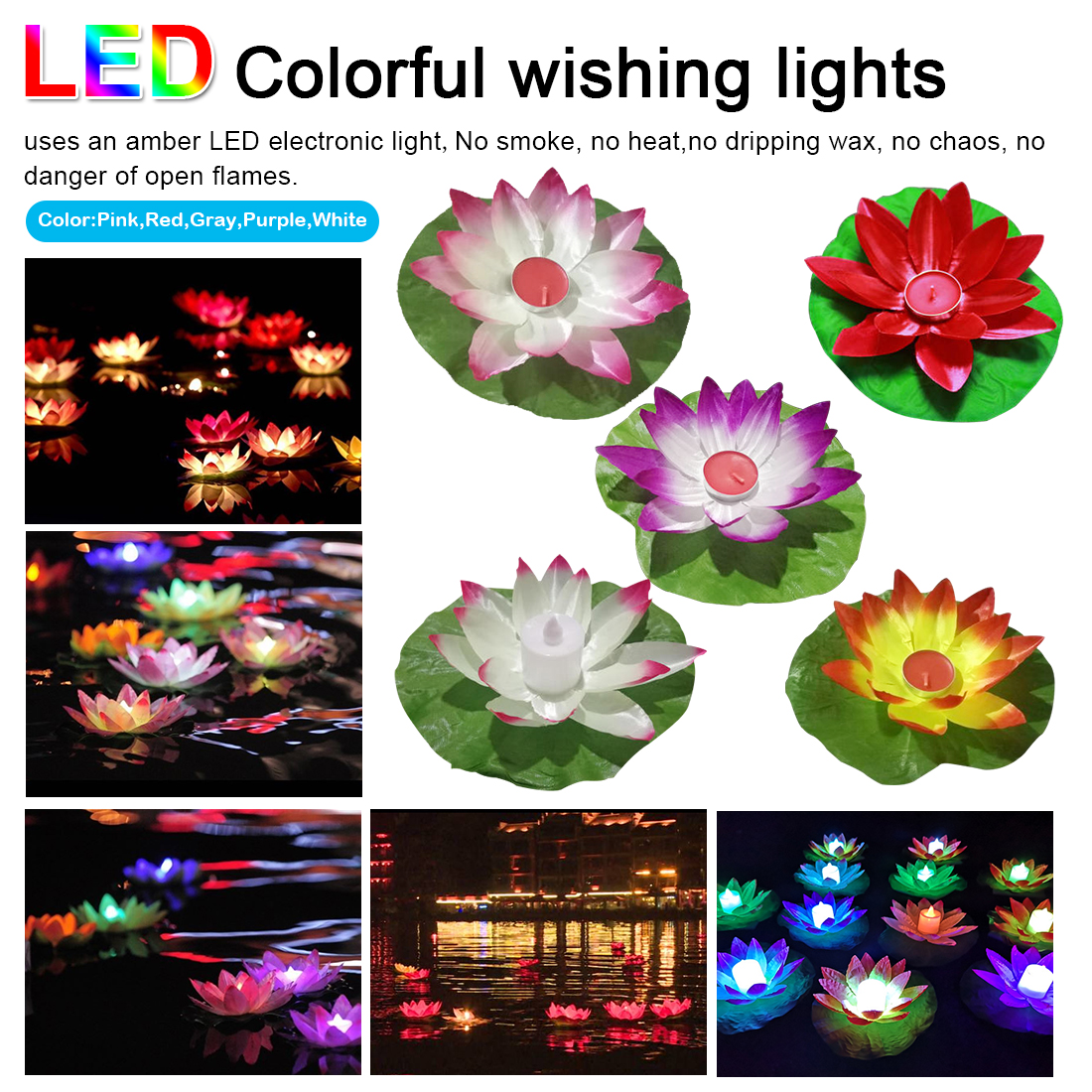 Landscape Lamp Colorful LED Floating Lotus Flower Lamps On Water Swimming Pool Garden Decoration Light