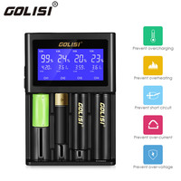 Golisi S4 4 Slots Intelligent Battery LCD Charger Charging 1A 2A For 18650 20700 26650 Li Ion Ni Mh Ni Cd AAA AA Battery Charger