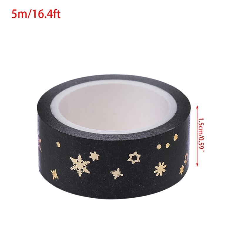 2020 New Black Moon Stars Paper Sticky Adhesive Sticker Decorative Washi Tape 1.5cm X 5m