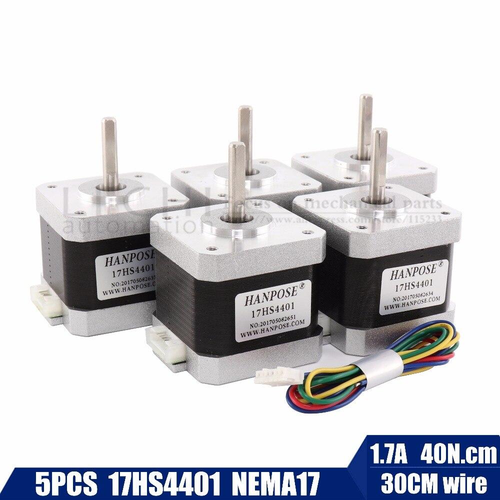 Envío Gratis 5 piezas 40mm 4-plomo Nema17 Motor paso a paso 42 motor Nema 17 42 BYGH 1.7A (17HS4401) motor para CNC XYZ
