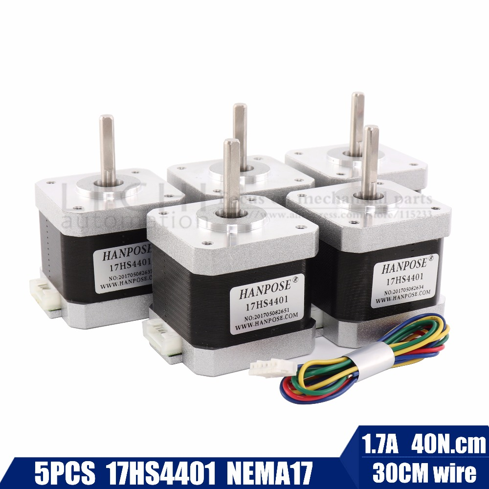 Free shipping 5pcs 40mm 4-lead Nema17 Stepper Motor 42 motor Nema 17 motor 42BYGH 1.7A (17HS4401) motor for CNC XYZ