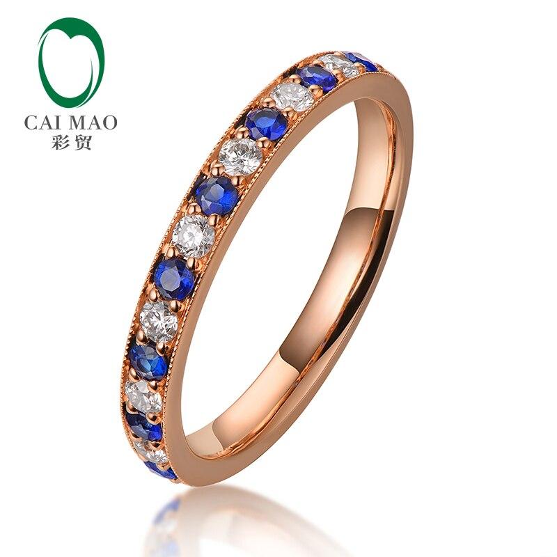 Caimao Half Eternity 18kt розовое золото природных алмазов и синий сапфировые обручальные обручальное Винтаж дизайн кольцо