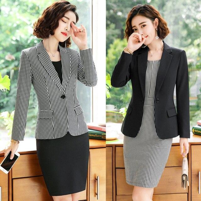 f75e172e171 2019 Formal elegante de las mujeres gris a cuadros chaquetas y americanas  mujer Oficina vestido de