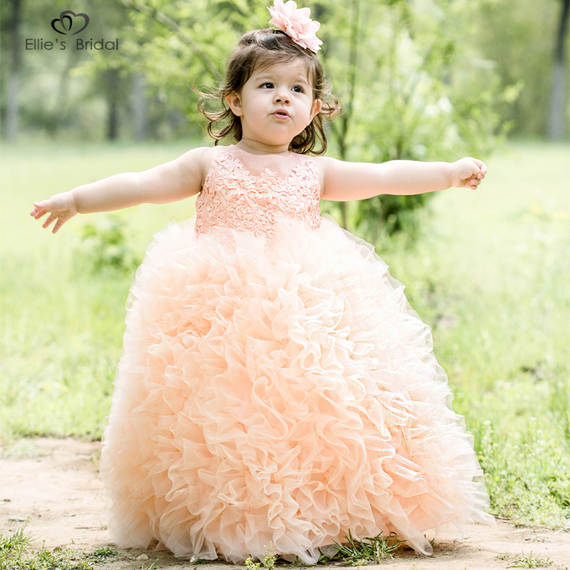 Ellies Bridal Girls Princess Pageant Dress Tulle Ruffles Tiered Evening Party Kids Ball Gowns Crystal Bow