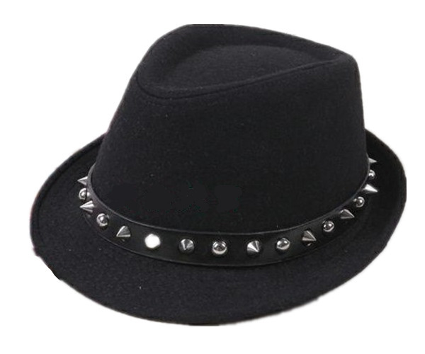 Fashion Punk Rivet Fedoras Women Lady England Jazz Bar Perform Fedora Hats