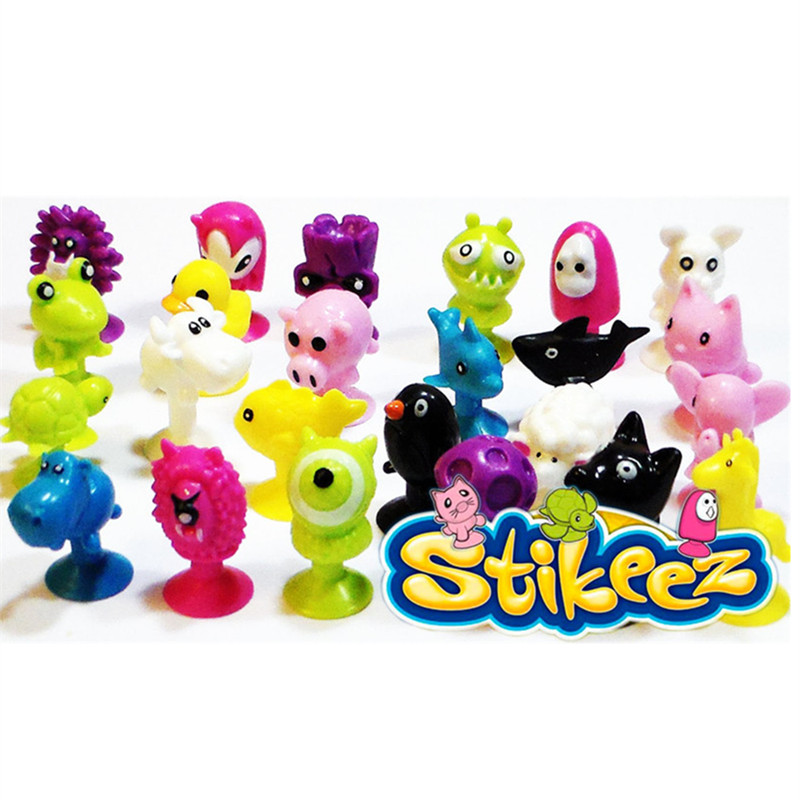 Cartoon Animal Action figures Minifigures Stikeez toys Sucker Mini Suction Cup Collector Capsule model kids toys lps pet shop toys rare black little cat blue eyes animal models patrulla canina action figures kids toys gift cat free shipping