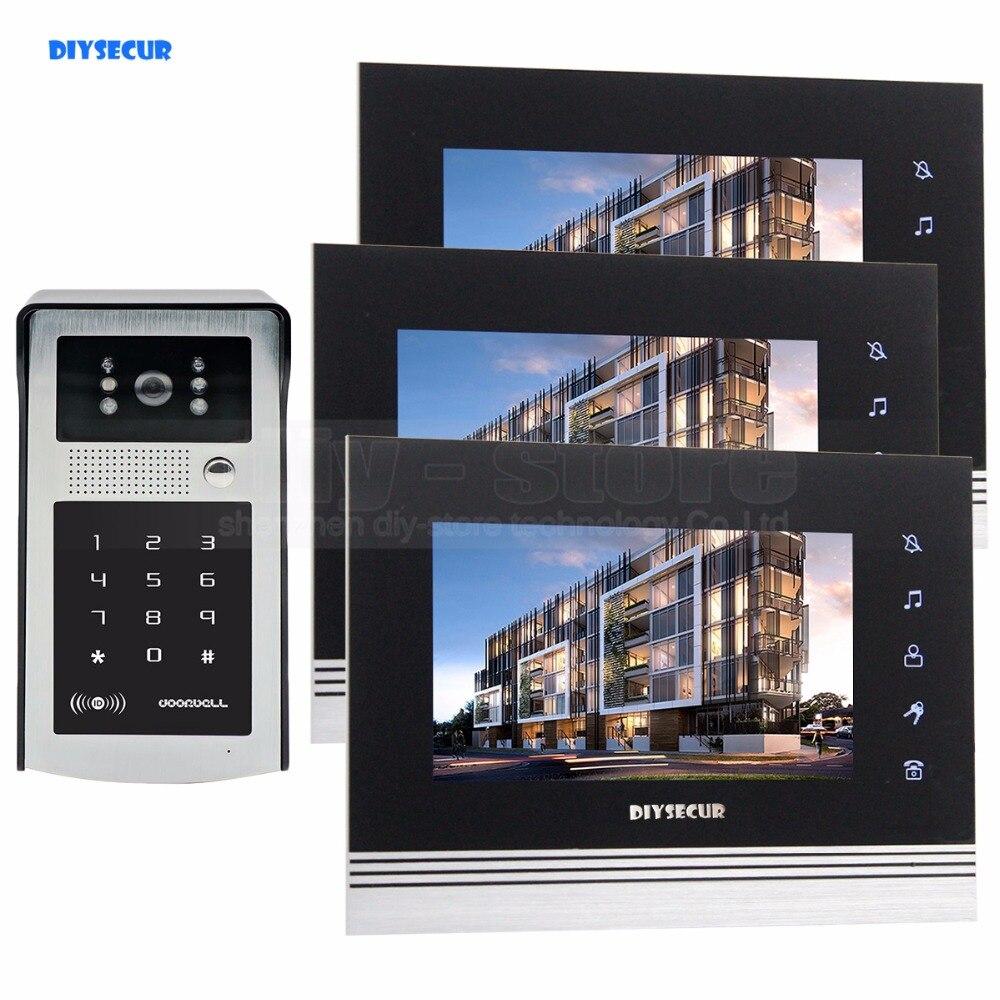 DIYSECUR 7 Inch Touch Button Video Door Phone Intercom Doorbell IR Night Vision HD 300000 Pixels Camera 1V3