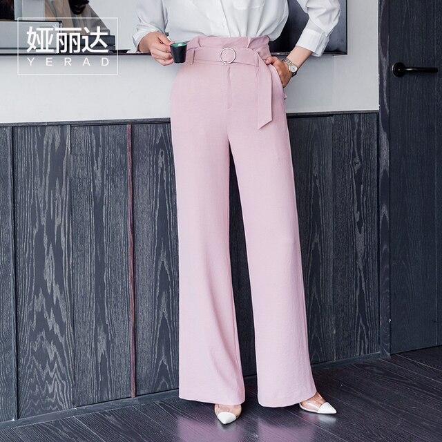 b74c7803d5e321 YERAD Women s Paperbag Waist Pants High Waist Full Length Wide Leg Pants  Fashion Femme Summer Palazzo Trousers