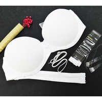YANDW Hot Push Up Bra White Big Size Bralette Underwear Women Halter Strapless Sexy BH Wedding A B C D E F 70 75 80 85 90 95
