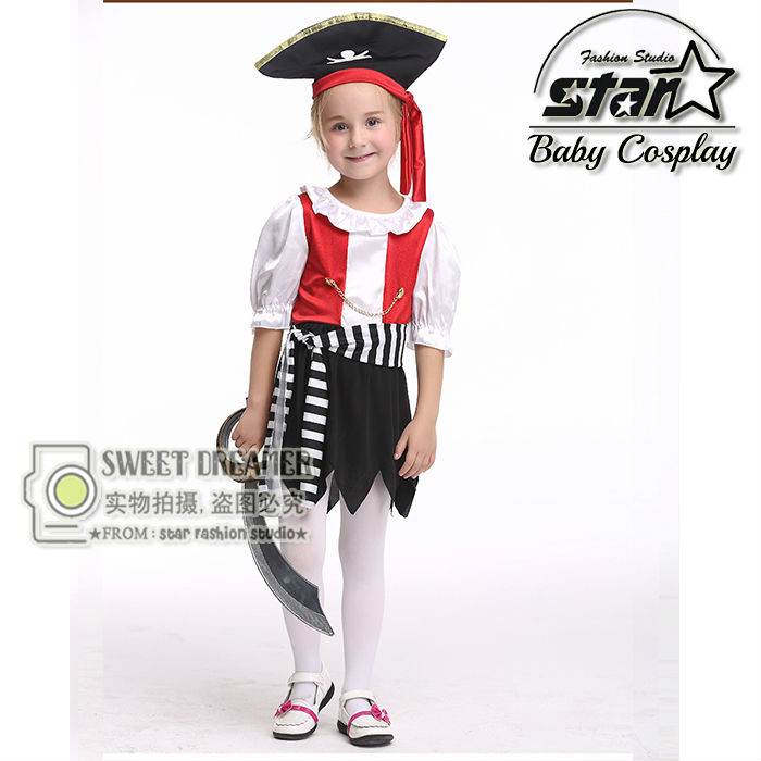 Halloween Girl Pirate Clothes Captain Jack Dress Masquerade Cosplay Children Fancy Costumes Performance Costume For Kids pirate jack