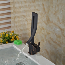 Oil Rubbed Bronze Waterfall Bathroom Faucet Deck Mounted Basin Tap Single Handle One Hole