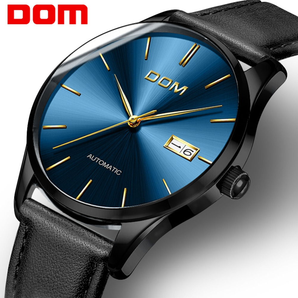 DOM Watch Men New Fashion Top Brand Luxury Lether Strap Waterproof Casual Watch Mechanical Wristwatches Relogio Masculino M-89
