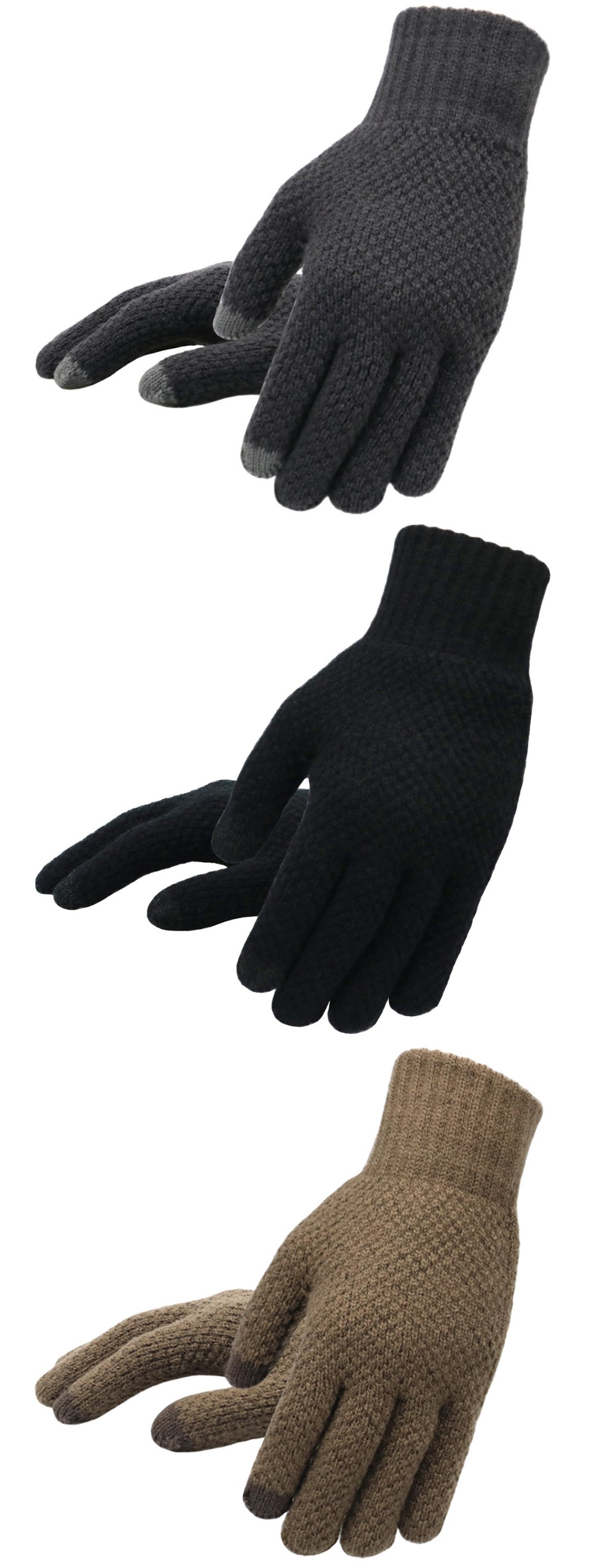 Warm and soft Knitted Touch Screen Gloves for Men Suitable during Winter and Autumn Made of Acrylic and Polyester Material 11