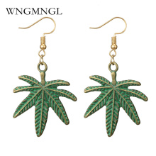WNGMNGL Bohemian Ethnic Vintage Antique Bronze Green Drop Earrings Gipsy Punk Maple Leaf Dangle for Women Jewelry Gift