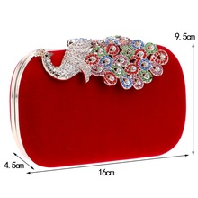 Peacock Hasp Rhinestones Evening Bags Chain Shoulder Bags Velvet Diamonds Clutches