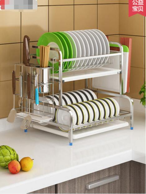 304 acier inoxydable cuisine bol rack drainage rack aération bol baguettes drainage placard double étagère