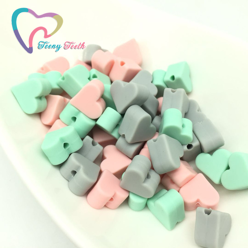 Teeny Teeth 30 PCS Heart Chew Silicone Pendant Necklace Accessory BPA Free Food Grade Silicone Beads For DIY Teething Necklace