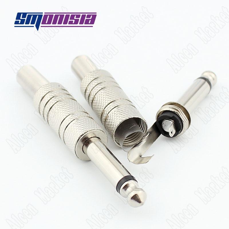 6.5mm Audio Video Speaker Plug Single Sound Channel Microphone KTV TS 6.35mm Plug Connector single channel power video audio transceivers set cement grey