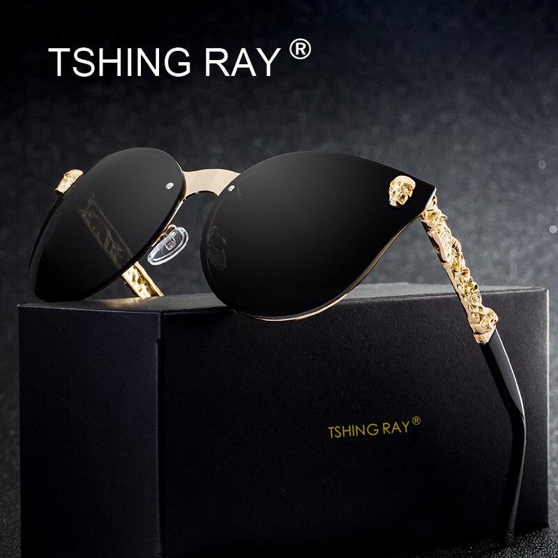 TSHING RAY moda cráneo gótico sin tirantes del ojo de gato gafas de sol mujer hombres Vintage Cameo piernas Oversized Cateye gafas de sol para mujer