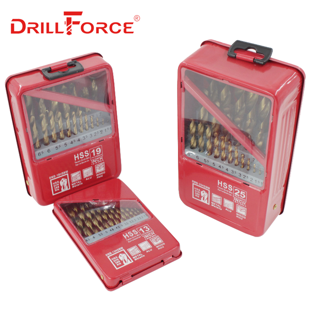 DRILLFORCE 13/19/25PCS HSS Titanium Coated For Metal Woodworking Drilling Bits Set