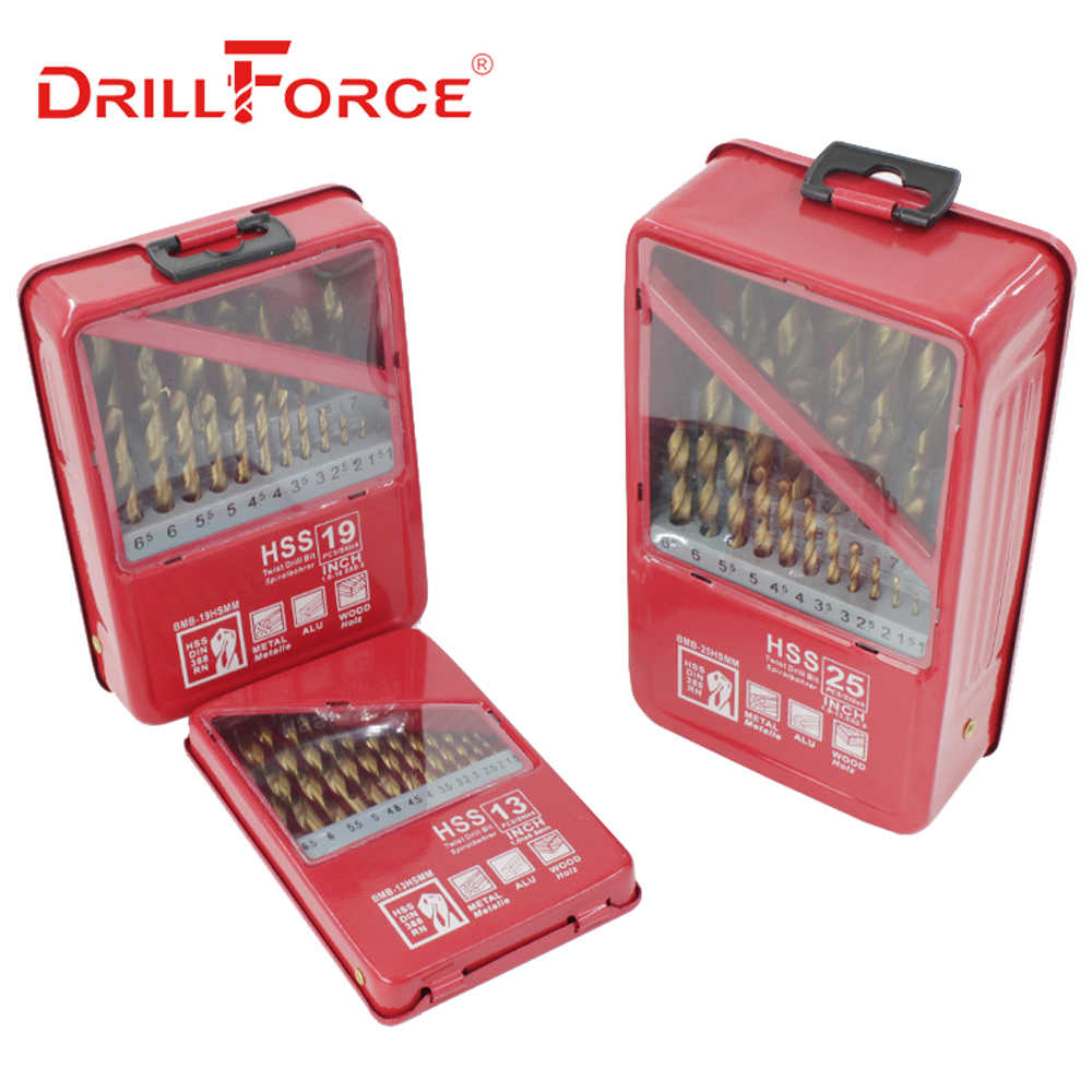 DRILLFORCE 13/19/25PCS HSS M2 Titanium Coated Boor Voor Metalen Houtbewerking Boren Bits Set 1.0 ~ 13mm Power Tools Accessoires