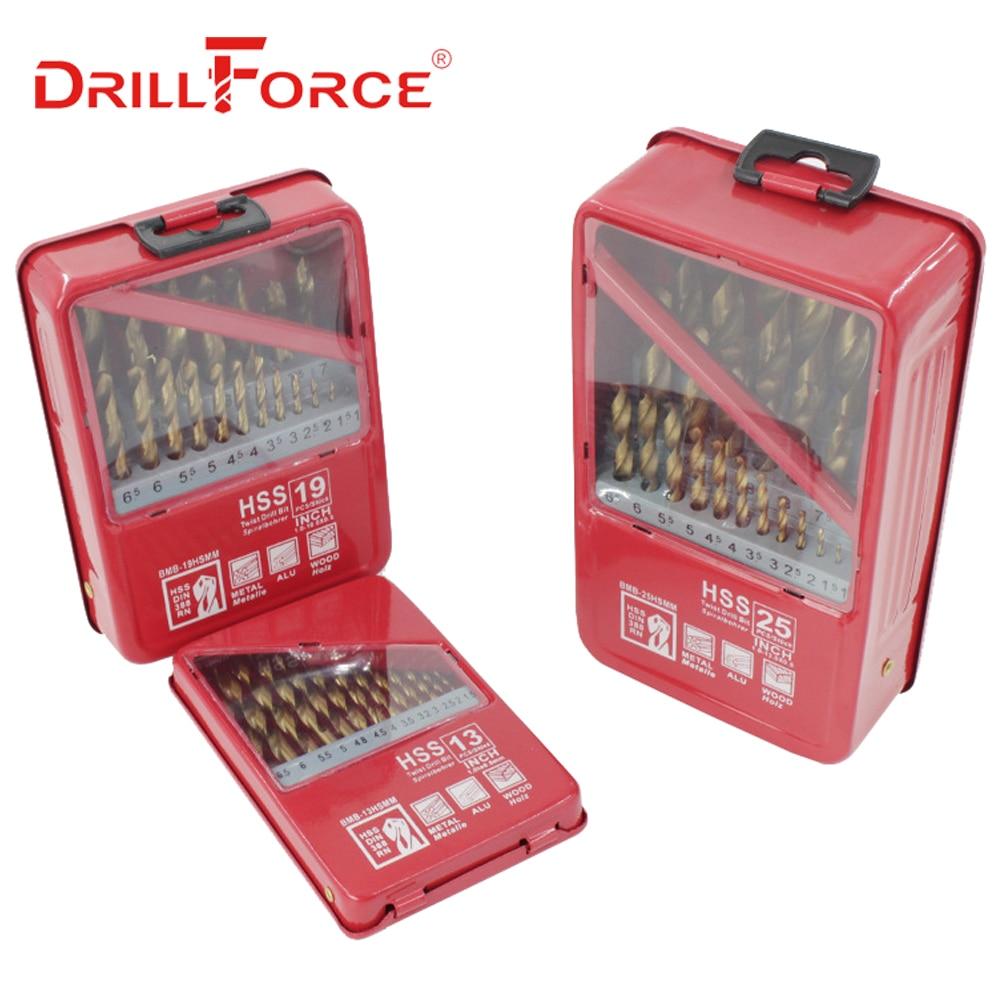 DRILLFORCE 13/19/25PCS HSS M2 Titanium Coated Drill Bit For Metal Woodworking Drilling Bits Set 1.0~13mm Power Tools Accessories