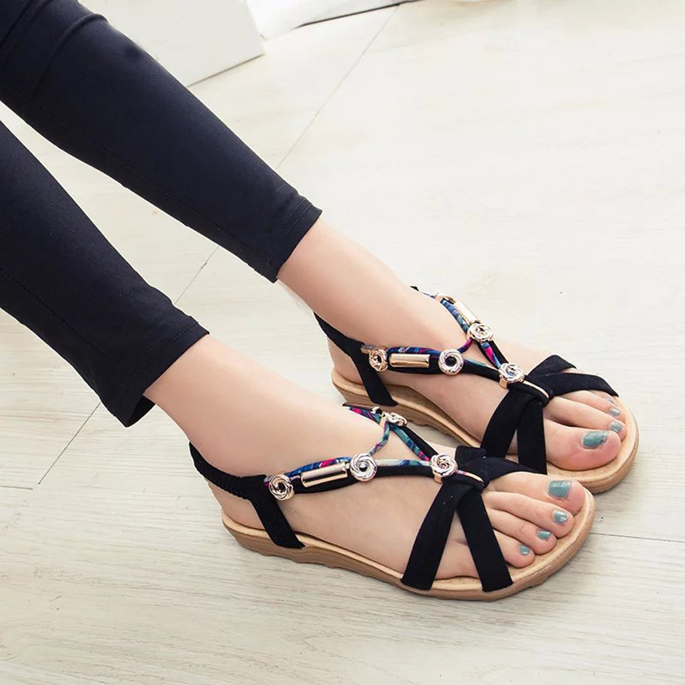 Women Sandals Plus Size 42 Gladiator Sandals For Women Summer Shoes Female Beach Flat Sandals Shoes Women Rome Sandalias Mujer серебряный подвес ювелирное изделие 80843